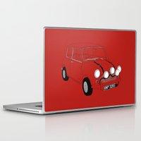 mini cooper Laptop & iPad Skins featuring The Italian Job Red Mini Cooper by Martin Lucas