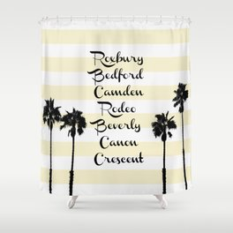 Beverly Hills Street Names Palm Trees Yellow Stripes Shower Curtain