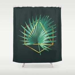 Minimal Tropical Palm Leaf - Palm And Gold - Gold Geometric Shape - Modern Tropical Wall Art - 2 Shower Curtain