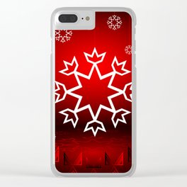 Xmas Snowflake with Red tipi Clear iPhone Case