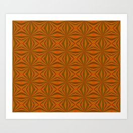 Autumnal Leaves Red Green and Amber Pattern Art Print