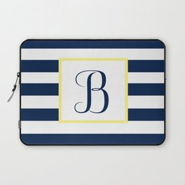 Monogram Letter B in Navy Blue it Yellow Outlined Box Laptop Sleeve