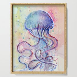 Jellyfish Watercolor Serving Tray