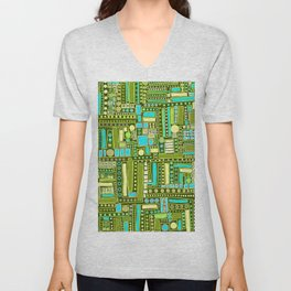 Mid-Century Modern Maze ~ Aqua & Forest Unisex V-Neck