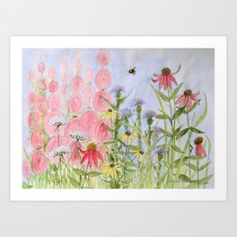 Botanical Floral Watercolor Pink Blue Yellow Flowers Blue Skies Art Print