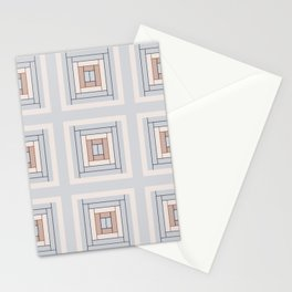 Modern Life (Large) Pattern Blue Grey Rust Stationery Cards