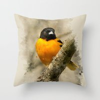baltimore Throw Pillows featuring Baltimore Oriole Watercolor Painting by Christina Rollo