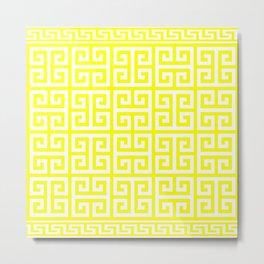 Greek Key (Yellow & White Pattern) Metal Print