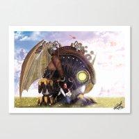 bioshock infinite Canvas Prints featuring Bioshock Infinite: The SongBird by GIOdesign