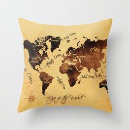 world map 75 Throw Pillow