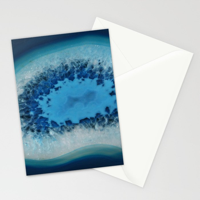 Agate Crystal Blue Stationery Cards