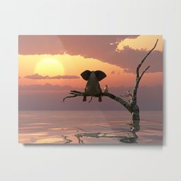 elephant and dog sit on a tree during a flood(2) Metal Print