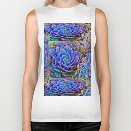 ORNATE BLUE-PINK SUCCULENT ART Biker Tank