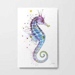 Seahorse: Purple Metal Print