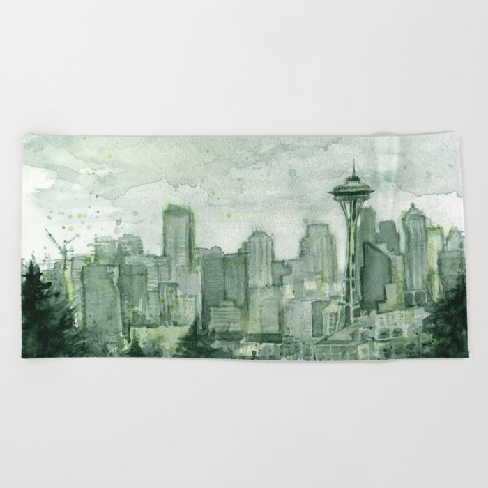Seattle Skyline Watercolor Space Needle Emerald City 12th Man Art Beach Towel