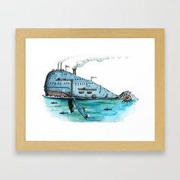 Steamboat Whale Framed Art Print
