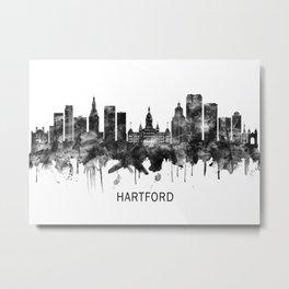 Hartford Connecticut Skyline BW Metal Print