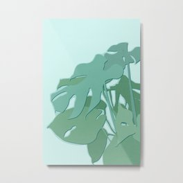Minimal Monstera Leaves - Greener Eden Metal Print