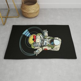 DJ Astronaut Yoga Black Rug