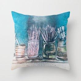 The Artist's Shelf Throw Pillow