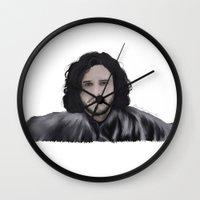 jon snow Wall Clocks featuring JON SNOW  by Flambino Gambino
