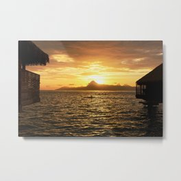 Tahiti Sunset with Kayakers over Water Metal Print