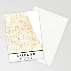 CHICAGO ILLINOIS CITY STREET MAP ART Stationery Cards