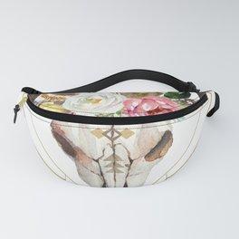 Boho flowers geometric bull skull Fanny Pack