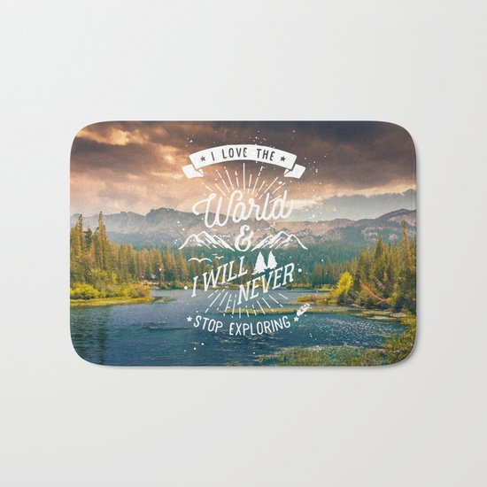 Inspirational Quote and Mountains III Bath Mat
