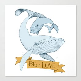 Big Love (gold and blue) Humpback Whales Canvas Print