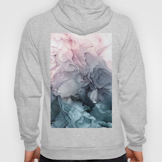 Blush and Paynes Gray Flowing Abstract Reflect by elizabethschulz