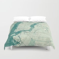 New York Map Blue Vintage Duvet Cover