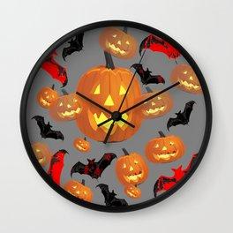 GREY HALLOWEEN JACK O'LANTERNS & BATS Wall Clock