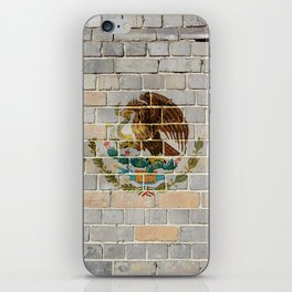 Mexico flag on a brick wall iPhone Skin