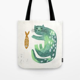 Green cat with fish Tote Bag