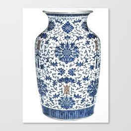 Blue & White Chinoiserie Porcelain Vase with Chrysanthemum Canvas Print