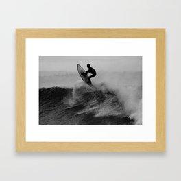 Surf black white Framed Art Print
