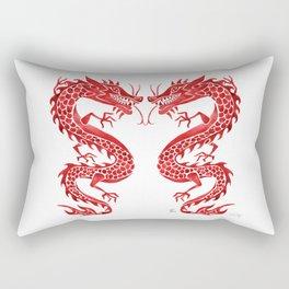 Chinese Dragon – Crimson Palette Rectangular Pillow