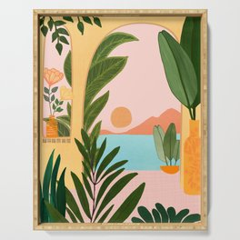 Moroccan Coast - Tropical Sunset Scene Serving Tray