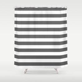 Narrow Horizontal Stripes - White and Dark Gray Shower Curtain