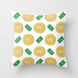 Korean won pattern background Throw Pillow