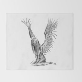 Lonely Angel Throw Blanket