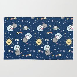 Cute Unicorns In Space Rug