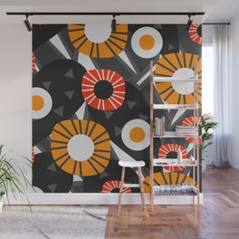 Funky flowers and succulents in the dark Wall Mural