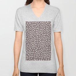 Mauve grayish pink white geometrical polka dots pattern Unisex V-Neck