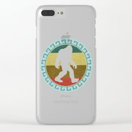 Funny Vintage Retro Sasquatch Bigfoot Gift Silhouette Novelty Gift Clear iPhone Case