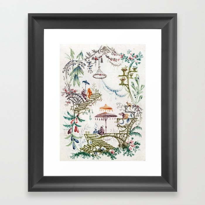 Enchanted Forest Chinoiserie Gerahmter Kunstdruck