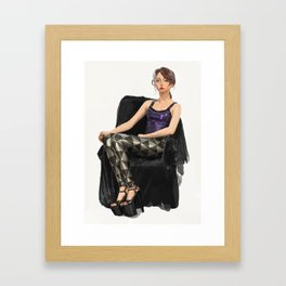 Erika Tschirhart in Black Milk black and silver triangles and latex top Framed Art Print