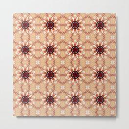 Flowers Mandala Pattern Metal Print