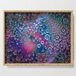 Magic iridescent colorful dew drops Serving Tray